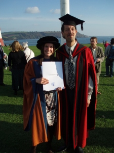 With my PhD supervisor, Prof Laurence Mee, at my graduation ceremony in 2008. Before his sad passing last year, Laurence was a science-policy inspiration and a profound influence on my career.